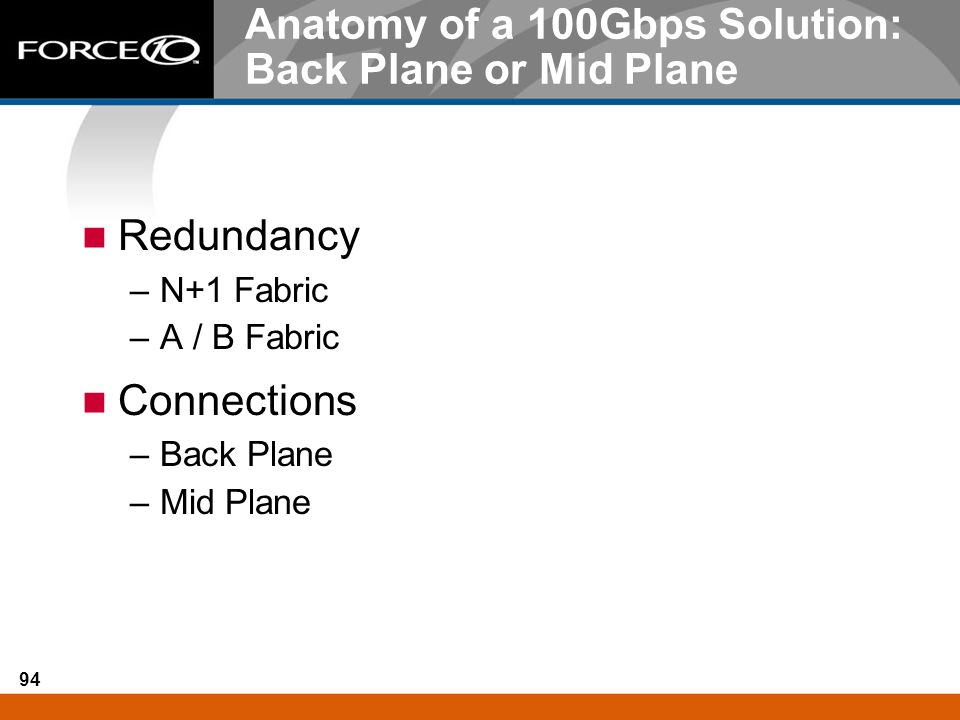 94 Anatomy of a 100Gbps Solution: Back Plane or Mid Plane Redundancy –N+1 Fabric –A / B Fabric Connections –Back Plane –Mid Plane