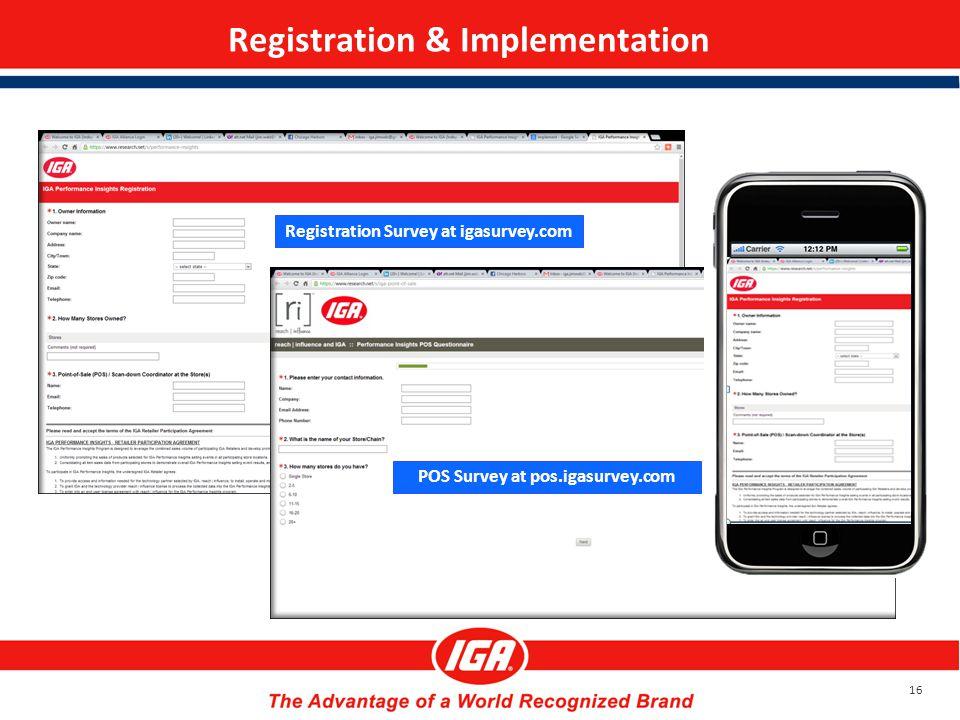 Registration & Implementation 16 Registration Survey at igasurvey.com POS Survey at pos.igasurvey.com