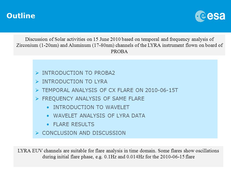 Outline  INTRODUCTION TO PROBA2  INTRODUCTION TO LYRA  TEMPORAL ANALYSIS OF CX FLARE ON T  FREQUENCY ANALYSIS OF SAME FLARE INTRODUCTION TO WAVELET WAVELET ANALYSIS OF LYRA DATA FLARE RESULTS  CONCLUSION AND DISCUSSION Discussion of Solar activities on 15 June 2010 based on temporal and frequency analysis of Zirconium (1-20nm) and Aluminum (17-80nm) channels of the LYRA instrument flown on board of PROBA LYRA EUV channels are suitable for flare analysis in time domain.