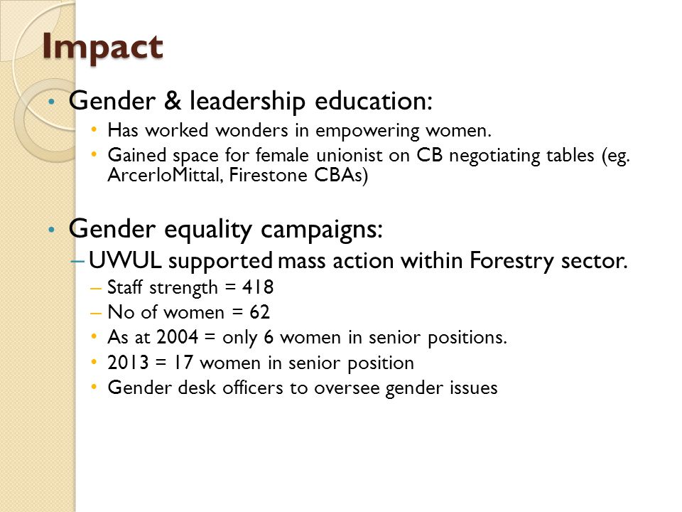 Impact Gender & leadership education: Has worked wonders in empowering women.