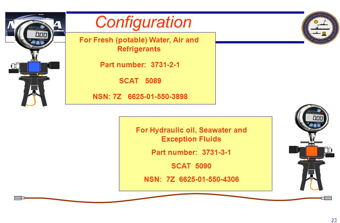 23 Configuration For Fresh (potable) Water, Air and Refrigerants Part number: 3731-2-1 SCAT 5089 NSN: 7Z 6625-01-550-3898 For Hydraulic oil, Seawater