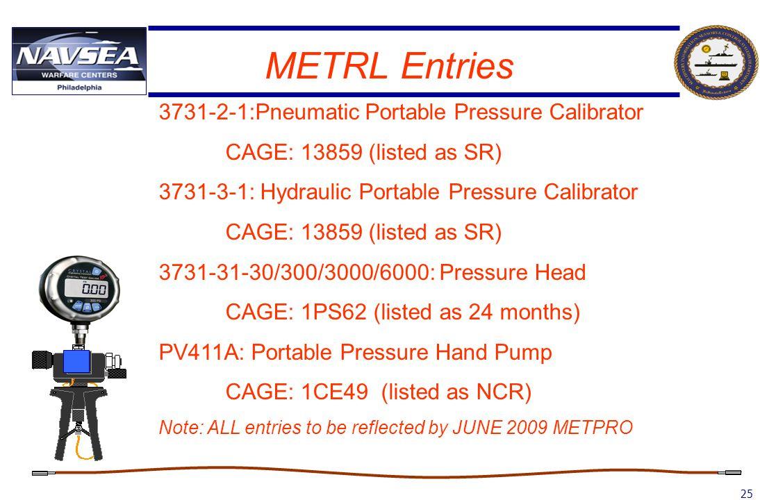 25 METRL Entries 3731-2-1:Pneumatic Portable Pressure Calibrator CAGE: 13859 (listed as SR) 3731-3-1: Hydraulic Portable Pressure Calibrator CAGE: 138