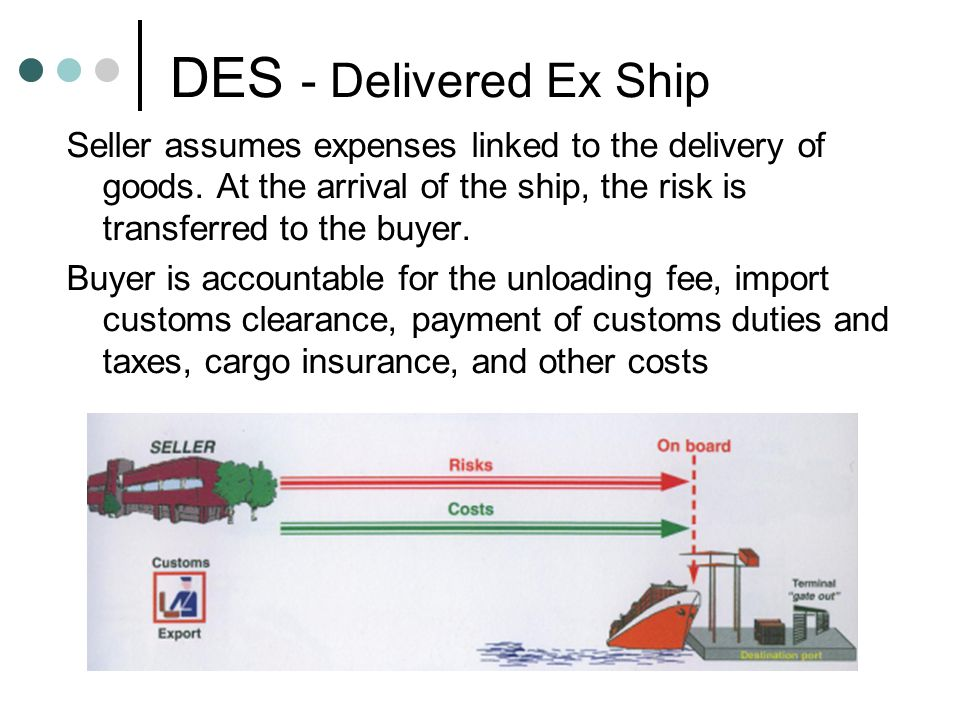 DES - Delivered Ex Ship Seller assumes expenses linked to the delivery of goods. At the arrival of the ship, the risk is transferred to the buyer. Buy