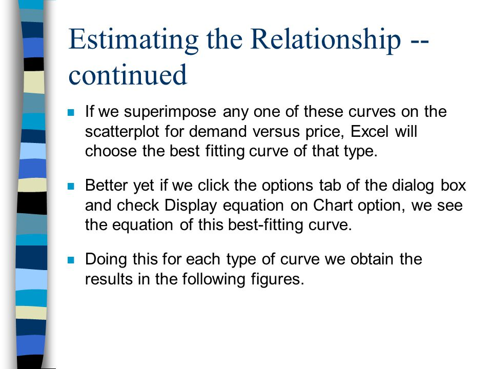 Estimating the Relationship -- continued n If we superimpose any one of these curves on the scatterplot for demand versus price, Excel will choose the best fitting curve of that type.