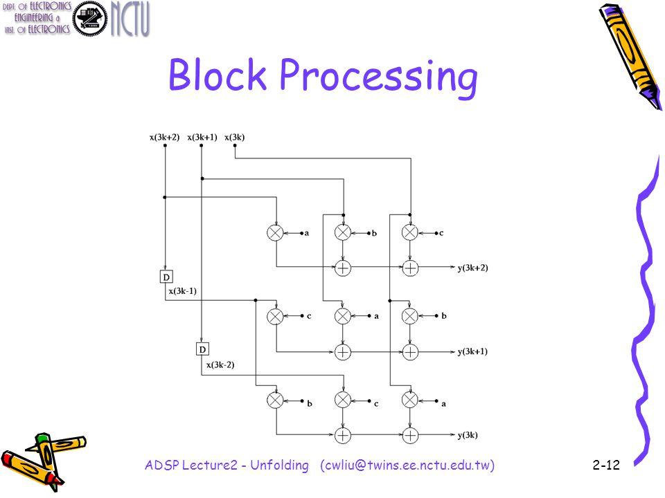 ADSP Lecture2 - Unfolding (cwliu@twins.ee.nctu.edu.tw)2-12 Block Processing