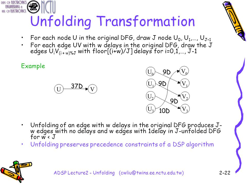 ADSP Lecture2 - Unfolding (cwliu@twins.ee.nctu.edu.tw)2-22 Unfolding Transformation For each node U in the original DFG, draw J node U 0, U 1,…, U J-1 For each edge UV with w delays in the original DFG, draw the J edges U i V (i + w)%J with floor[(i+w)/J] delays for i=0,1,…, J-1 Example Unfolding of an edge with w delays in the original DFG produces J- w edges with no delays and w edges with 1delay in J-unfolded DFG for w < J Unfolding preserves precedence constraints of a DSP algorithm