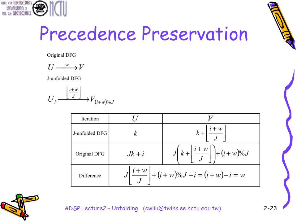 ADSP Lecture2 - Unfolding (cwliu@twins.ee.nctu.edu.tw)2-23 Precedence Preservation