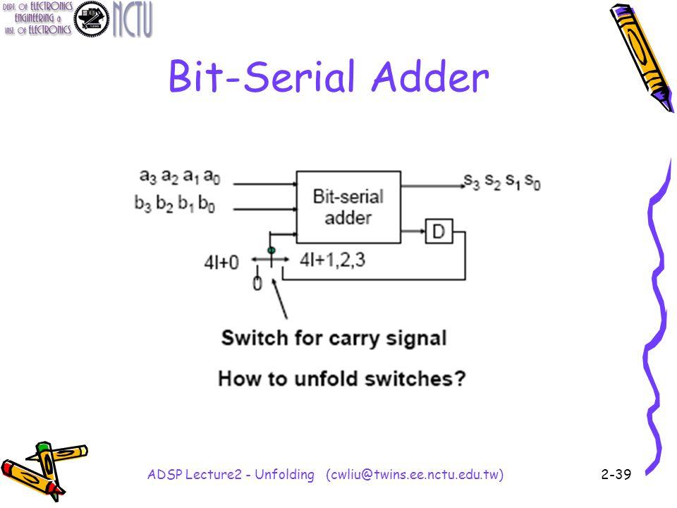 ADSP Lecture2 - Unfolding (cwliu@twins.ee.nctu.edu.tw)2-39 Bit-Serial Adder