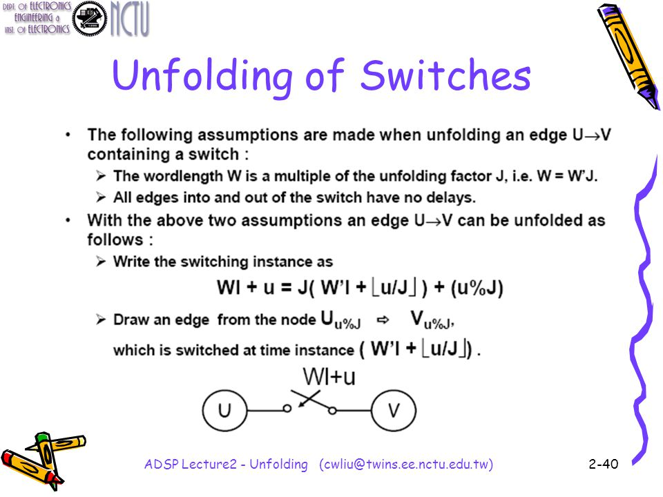 ADSP Lecture2 - Unfolding (cwliu@twins.ee.nctu.edu.tw)2-40 Unfolding of Switches