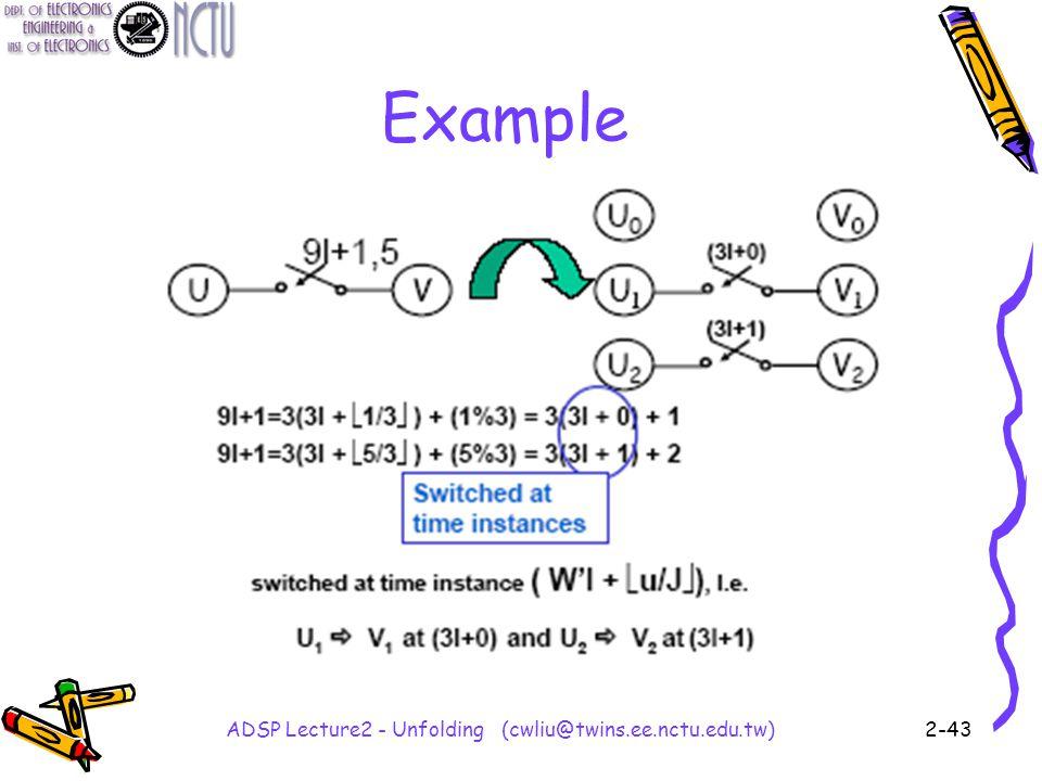 ADSP Lecture2 - Unfolding (cwliu@twins.ee.nctu.edu.tw)2-43 Example