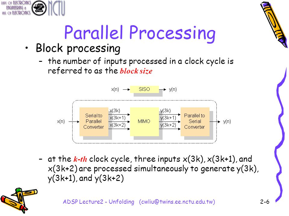 ADSP Lecture2 - Unfolding (cwliu@twins.ee.nctu.edu.tw)2-6 Parallel Processing Block processing –the number of inputs processed in a clock cycle is referred to as the block size –at the k-th clock cycle, three inputs x(3k), x(3k+1), and x(3k+2) are processed simultaneously to generate y(3k), y(3k+1), and y(3k+2)