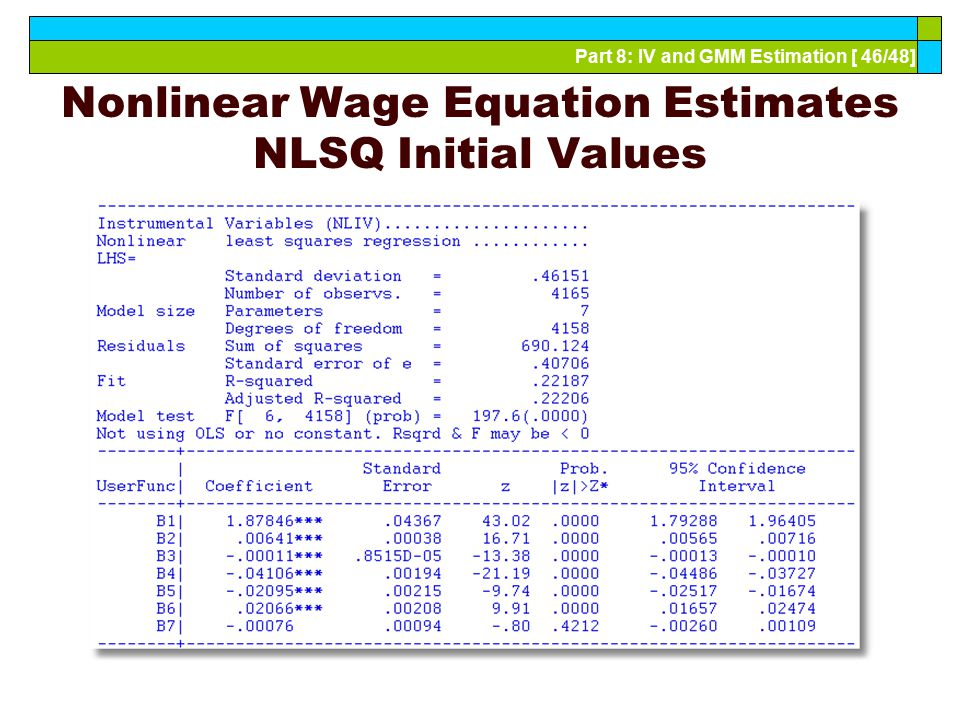 Part 8: IV and GMM Estimation [ 46/48] Nonlinear Wage Equation Estimates NLSQ Initial Values