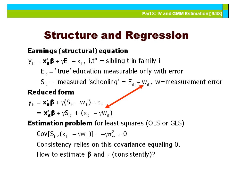 Part 8: IV and GMM Estimation [ 9/48] Structure and Regression