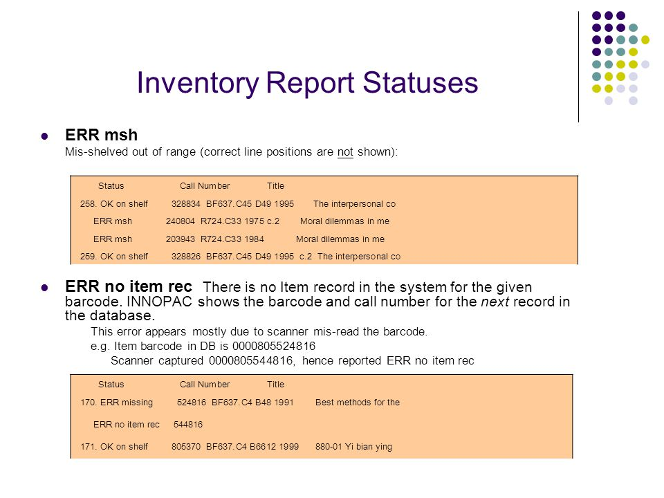 Inventory Report Statuses ERR msh Mis-shelved out of range (correct line positions are not shown): ERR no item rec There is no Item record in the system for the given barcode.