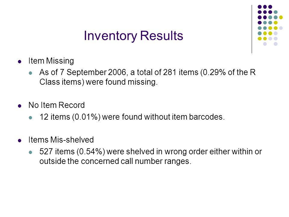 Inventory Results Item Missing As of 7 September 2006, a total of 281 items (0.29% of the R Class items) were found missing.