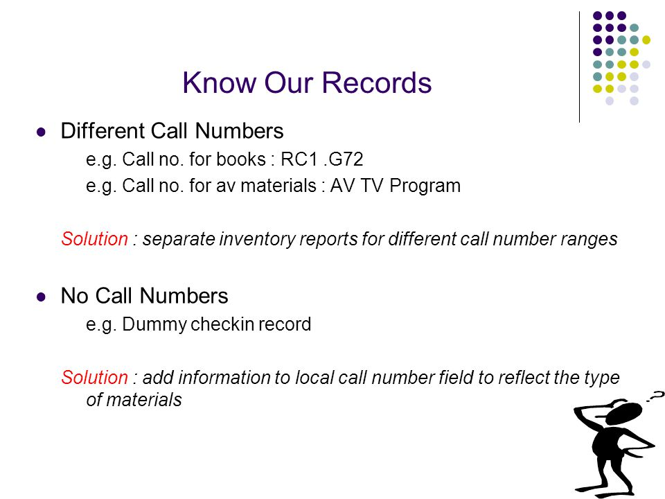 Know Our Records Different Call Numbers e.g. Call no.