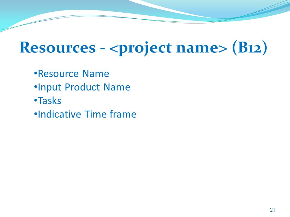 Resources - (B12) 21 Resource Name Input Product Name Tasks Indicative Time frame