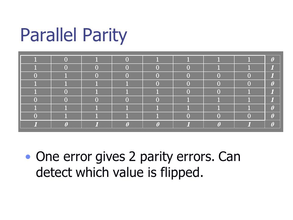 Parallel Parity One error gives 2 parity errors. Can detect which value is flipped.
