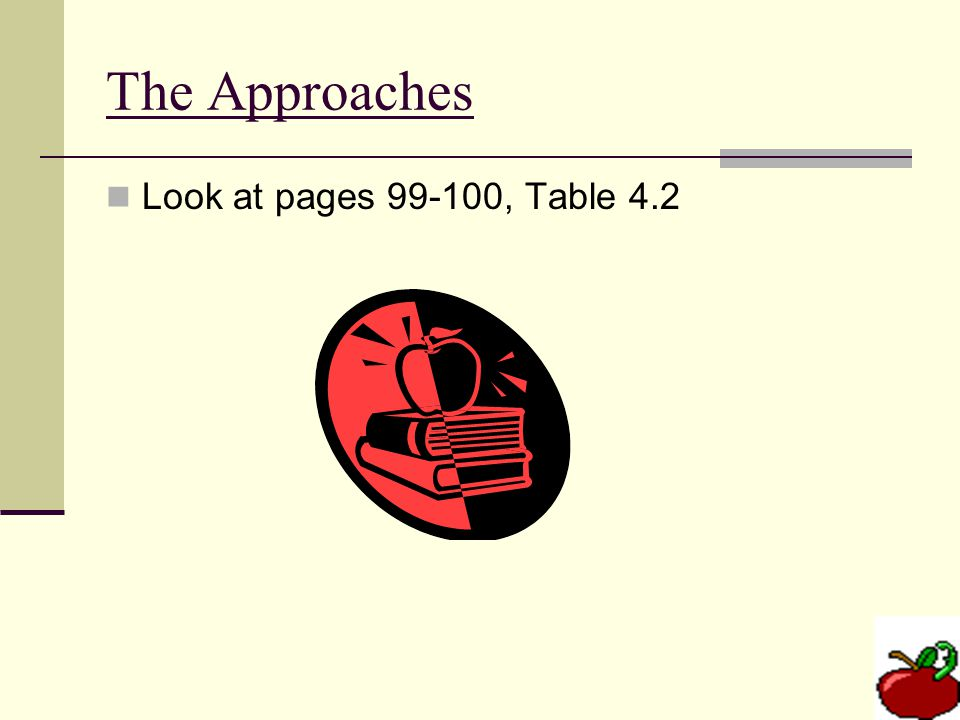 The Approaches Look at pages 99-100, Table 4.2
