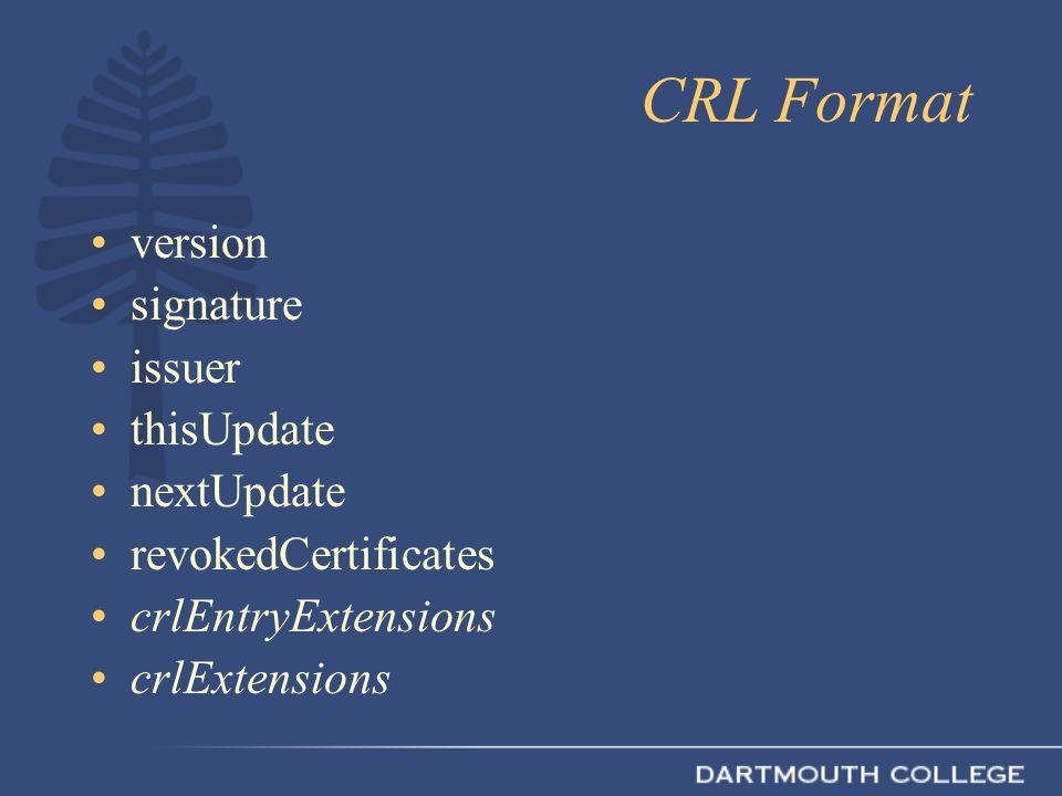 CRL Format version signature issuer thisUpdate nextUpdate revokedCertificates crlEntryExtensions crlExtensions