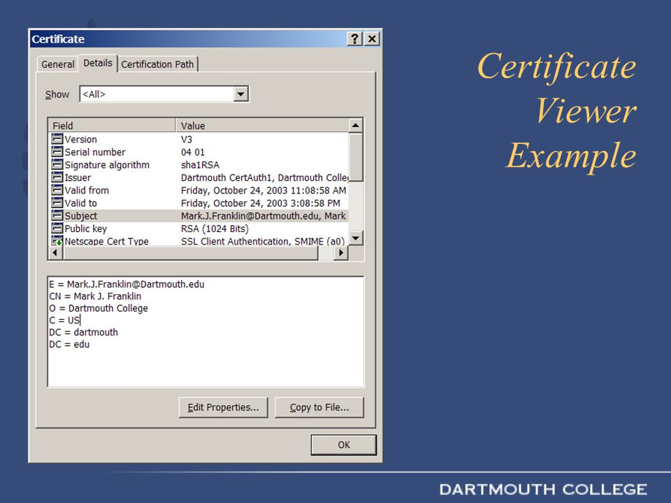 Certificate Viewer Example