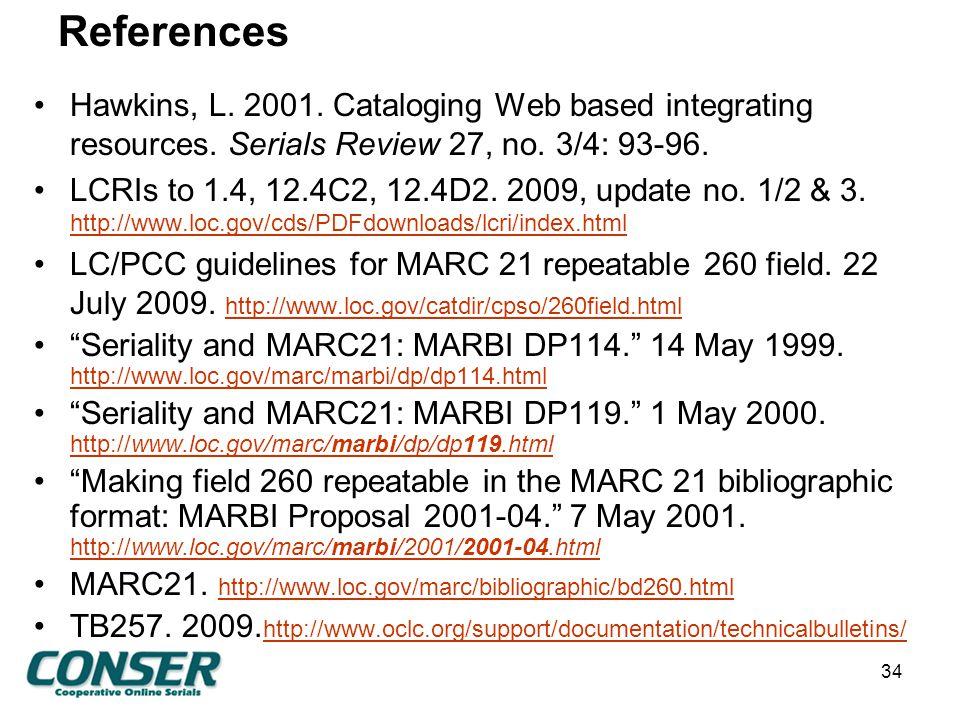 References Hawkins, L. 2001. Cataloging Web based integrating resources.