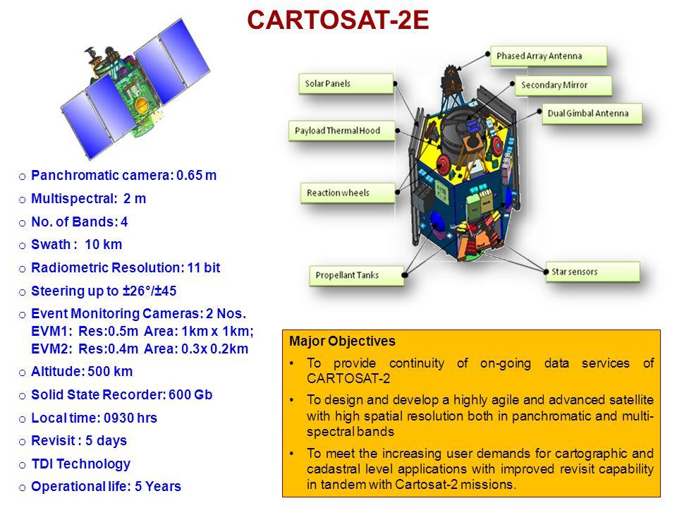 o Panchromatic camera: 0.65 m o Multispectral: 2 m o No.