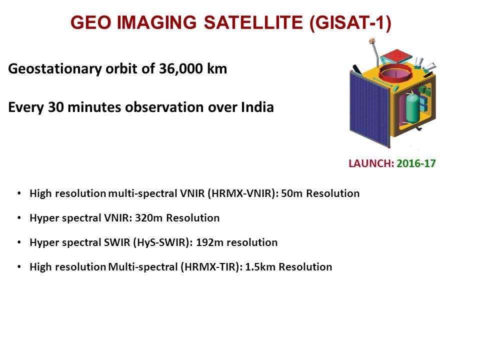 GEO IMAGING SATELLITE (GISAT-1) High resolution multi-spectral VNIR (HRMX-VNIR): 50m Resolution Hyper spectral VNIR: 320m Resolution Hyper spectral SWIR (HyS-SWIR): 192m resolution High resolution Multi-spectral (HRMX-TIR): 1.5km Resolution Geostationary orbit of 36,000 km Every 30 minutes observation over India LAUNCH: 2016-17