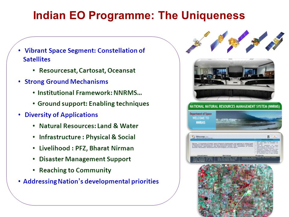 Indian EO Programme: The Uniqueness Vibrant Space Segment: Constellation of Satellites Resourcesat, Cartosat, Oceansat Strong Ground Mechanisms Instit