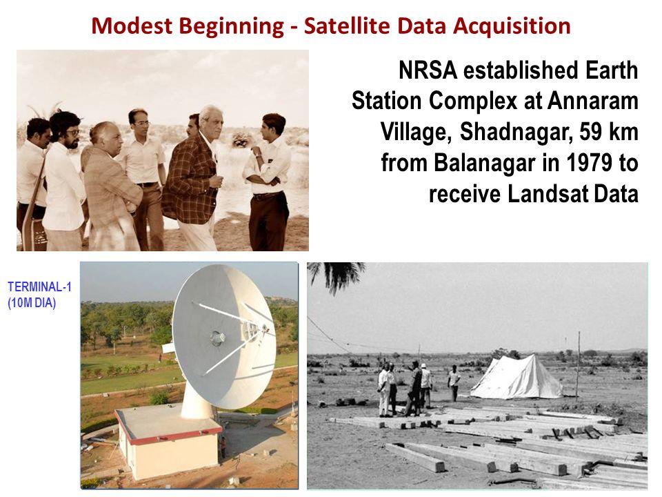 Modest Beginning - Satellite Data Acquisition NRSA established Earth Station Complex at Annaram Village, Shadnagar, 59 km from Balanagar in 1979 to receive Landsat Data TERMINAL-1 (10M DIA)