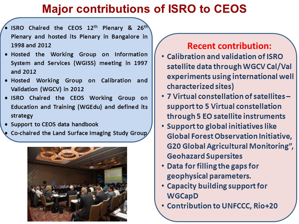  ISRO Chaired the CEOS 12 th Plenary & 26 th Plenary and hosted its Plenary in Bangalore in 1998 and 2012  Hosted the Working Group on Information S
