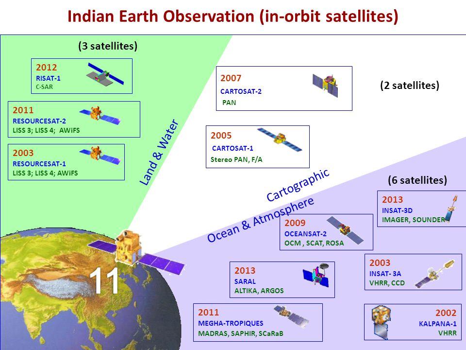 2003 RESOURCESAT-1 LISS 3; LISS 4; AWiFS 2007 CARTOSAT-2 PAN 2005 CARTOSAT-1 Stereo PAN, F/A 2002 KALPANA-1 VHRR 2003 INSAT- 3A VHRR, CCD Land & Water Cartographic Ocean & Atmosphere 2009 OCEANSAT-2 OCM, SCAT, ROSA 2011 RESOURCESAT-2 LISS 3; LISS 4; AWiFS 2011 MEGHA-TROPIQUES MADRAS, SAPHIR, SCaRaB 2012 RISAT-1 C-SAR Indian Earth Observation (in-orbit satellites) 2013 SARAL ALTIKA, ARGOS 2013 INSAT-3D IMAGER, SOUNDER (3 satellites) (2 satellites) (6 satellites)