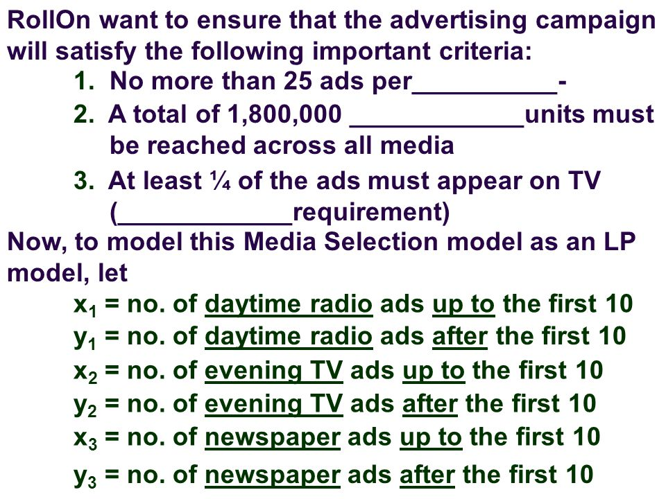 RollOn want to ensure that the advertising campaign will satisfy the following important criteria: 1.