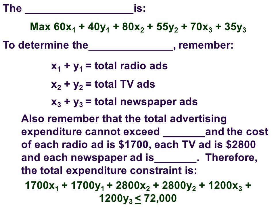The __________________is: Max 60x y x y x y 3, To determine the______________, remember: x 1 + y 1 = total radio ads x 2 + y 2 = total TV ads x 3 + y 3 = total newspaper ads Also remember that the total advertising expenditure cannot exceed _______and the cost of each radio ad is $1700, each TV ad is $2800 and each newspaper ad is_______.