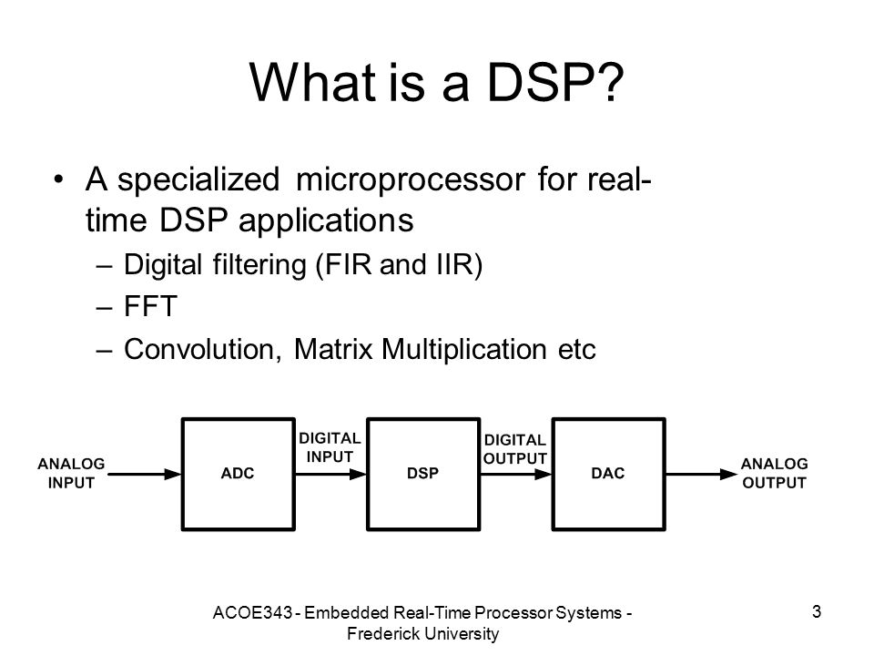 ACOE343 - Embedded Real-Time Processor Systems - Frederick University 3 What is a DSP.