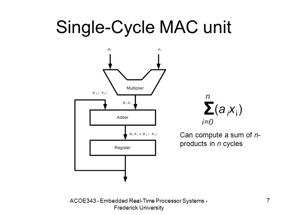 ACOE343 - Embedded Real-Time Processor Systems - Frederick University 7 Single-Cycle MAC unit Can compute a sum of n- products in n cycles