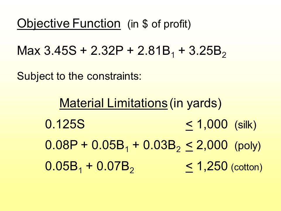 Objective Function (in $ of profit) Max 3.45S + 2.32P + 2.81B 1 + 3.25B 2 Subject to the constraints: Material Limitations (in yards) 0.125S< 1,000 (silk) 0.08P + 0.05B 1 + 0.03B 2 < 2,000 (poly) 0.05B 1 + 0.07B 2 < 1,250 (cotton)
