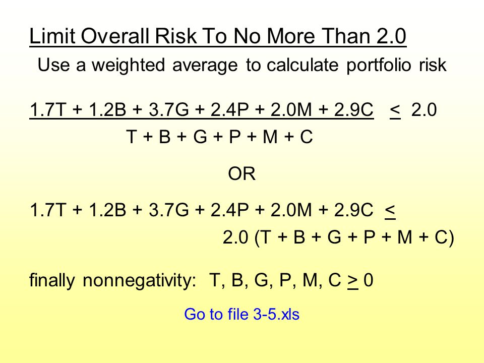 Limit Overall Risk To No More Than 2.0 Use a weighted average to calculate portfolio risk 1.7T + 1.2B + 3.7G + 2.4P + 2.0M + 2.9C < 2.0 T + B + G + P + M + C OR 1.7T + 1.2B + 3.7G + 2.4P + 2.0M + 2.9C < 2.0 (T + B + G + P + M + C) finally nonnegativity: T, B, G, P, M, C > 0 Go to file 3-5.xls