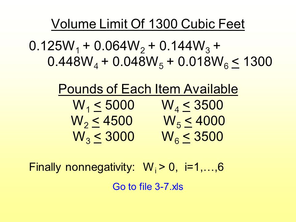 Volume Limit Of 1300 Cubic Feet 0.125W 1 + 0.064W 2 + 0.144W 3 + 0.448W 4 + 0.048W 5 + 0.018W 6 < 1300 Pounds of Each Item Available W 1 < 5000W 4 < 3500 W 2 < 4500 W 5 < 4000 W 3 < 3000W 6 < 3500 Finally nonnegativity: W i > 0, i=1,…,6 Go to file 3-7.xls