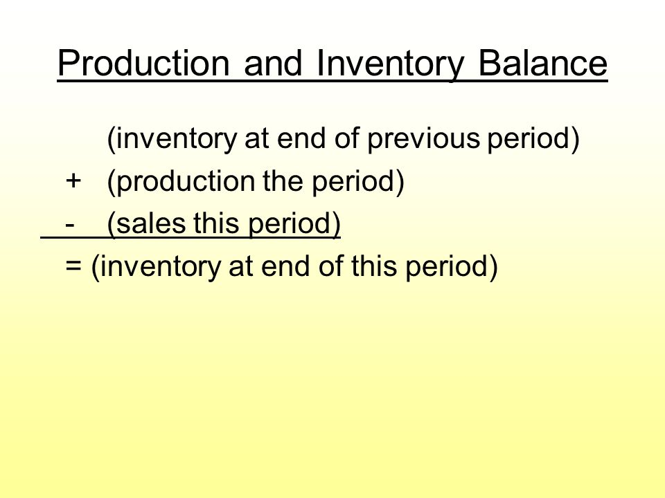 Production and Inventory Balance (inventory at end of previous period) +(production the period) -(sales this period) = (inventory at end of this period)