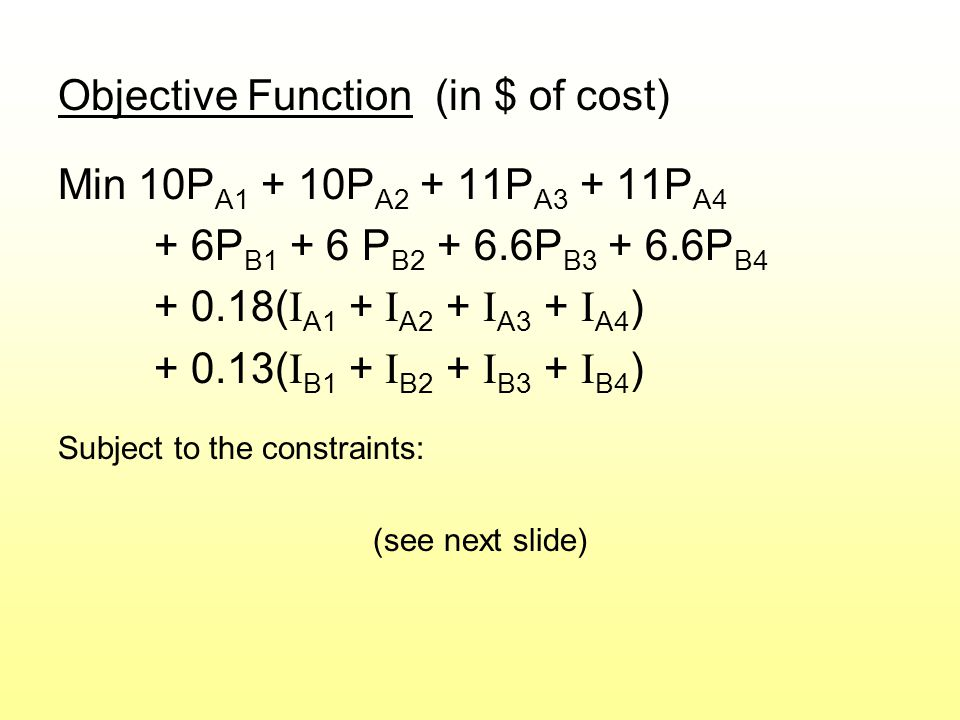 Objective Function (in $ of cost) Min 10P A1 + 10P A2 + 11P A3 + 11P A4 + 6P B1 + 6 P B2 + 6.6P B3 + 6.6P B4 + 0.18( I A1 + I A2 + I A3 + I A4 ) + 0.13( I B1 + I B2 + I B3 + I B4 ) Subject to the constraints: (see next slide)