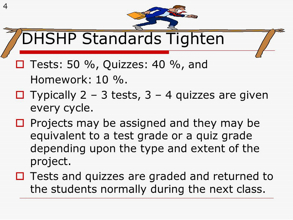 4 DHSHP Standards Tighten  Tests: 50 %, Quizzes: 40 %, and Homework: 10 %.