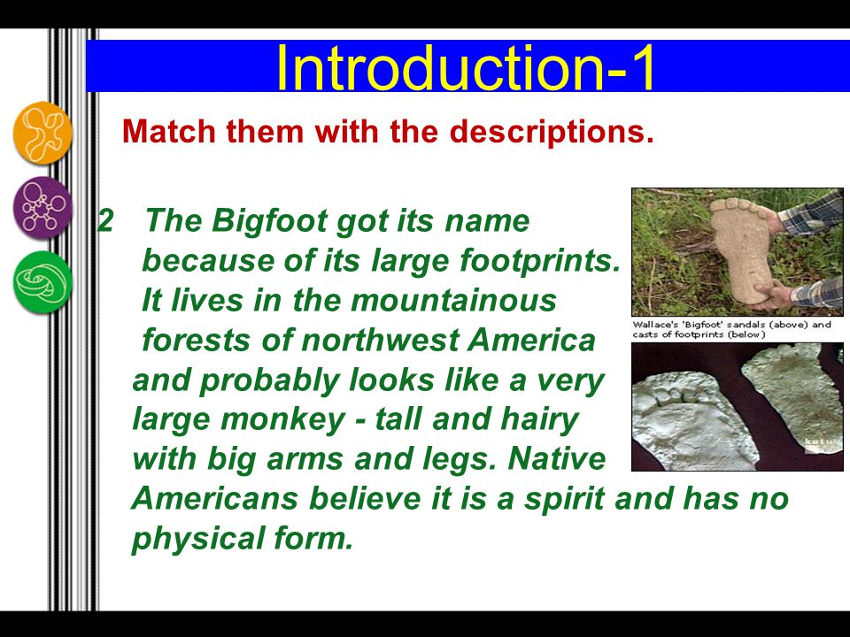 Introduction-1 Match them with the descriptions.