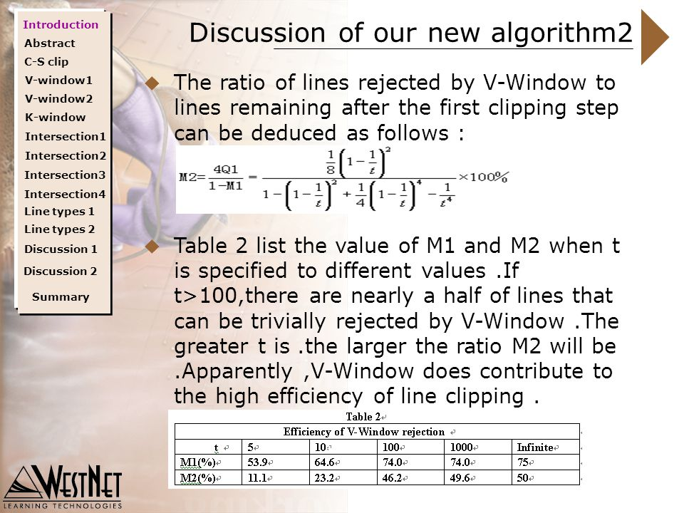Discussion of our new algorithm2  The ratio of lines rejected by V-Window to lines remaining after the first clipping step can be deduced as follows :  Table 2 list the value of M1 and M2 when t is specified to different values.If t>100,there are nearly a half of lines that can be trivially rejected by V-Window.The greater t is.the larger the ratio M2 will be.Apparently,V-Window does contribute to the high efficiency of line clipping.