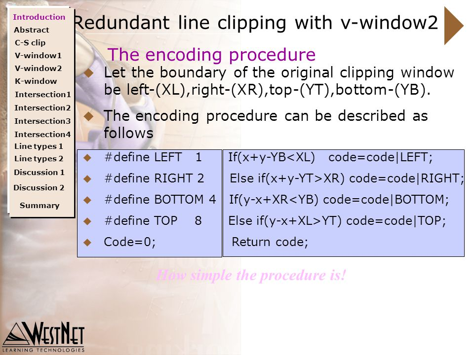 Remaining line clipping with K-window Rejecting of remaining redundant lines  Lines such as line e is still can't be rejected after the previous steps;  The virtual window(k-window) is consturcted which aligns with direction of the line to be clipped,as shown in fig4  Now the line e is easily rejected by this means.