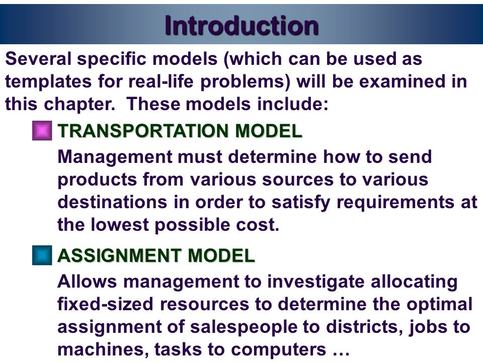 Introduction Several specific models (which can be used as templates for real-life problems) will be examined in this chapter.