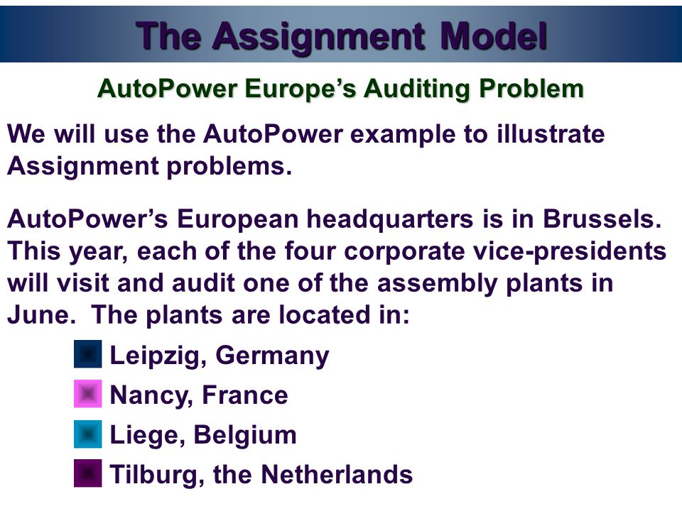 The Assignment Model We will use the AutoPower example to illustrate Assignment problems.