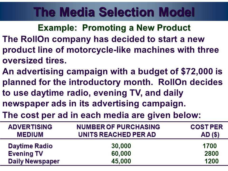 The Media Selection Model The RollOn company has decided to start a new product line of motorcycle-like machines with three oversized tires.