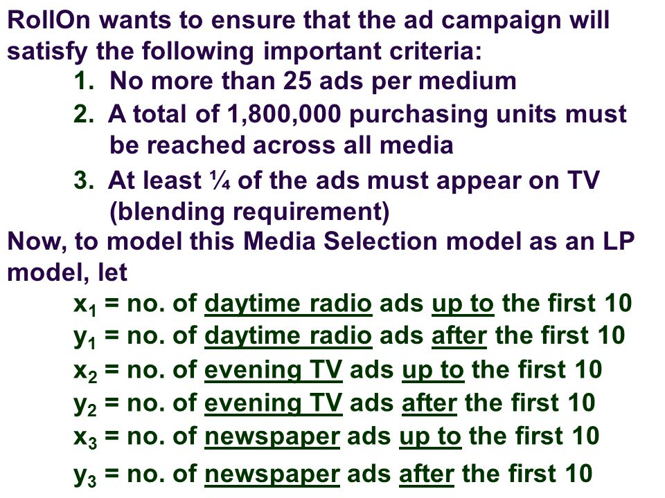 RollOn wants to ensure that the ad campaign will satisfy the following important criteria: 1.