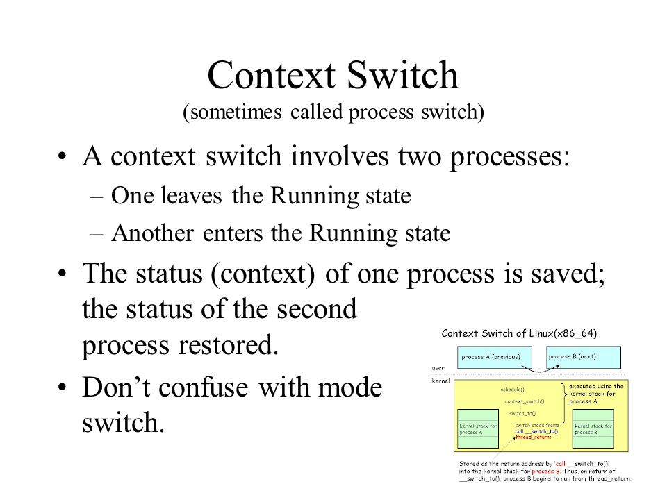Context Switch (sometimes called process switch) A context switch involves two processes: –One leaves the Running state –Another enters the Running state The status (context) of one process is saved; the status of the second process restored.